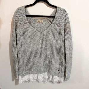 Gray Hollister Sweater with Lace Trim